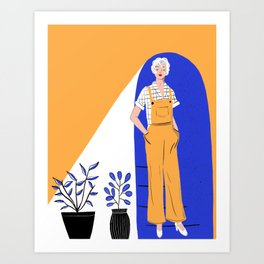 Lady with plants Art Print