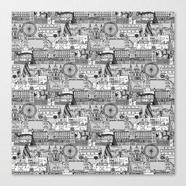 London toile black white Canvas Print