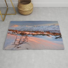 Mulhacen, Alcazaba,Vacares, Machos and Veleta mountains at red sunset. Snow mountains Rug