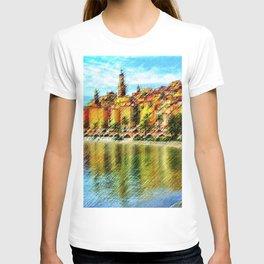 Cote d'azur, Menton France at Morning Landscape Painting by Jeanpaul Ferro T-shirt