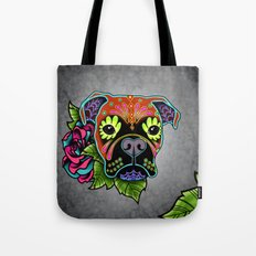 Boxer in Fawn - Day of the Dead Sugar Skull Dog Tote Bag