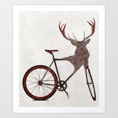 Stag Bike Art Print