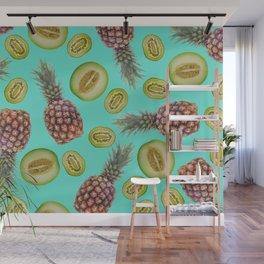 Pineapple - Honeymoon - Kiwi Fruits pattern turquoise Wall Mural
