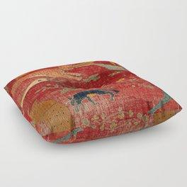 Animal Grotesques Mughal Carpet Fragment Digital Painting Floor Pillow