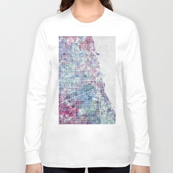 Chicago map Long Sleeve T-shirt