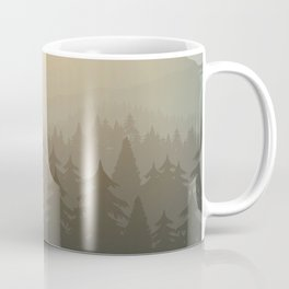 mountain forest in fog and sunrise with stars Coffee Mug