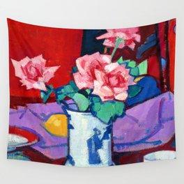 Samuel Peploe Pink Roses Wall Tapestry