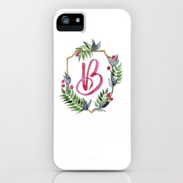 Jungle Gold Monogram Crest B iPhone Case
