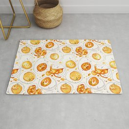 Cooked Eggs Watercolor Rug
