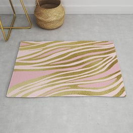 Gold Pink Dancing Lines Rug