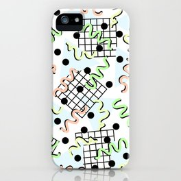Retro Memphis 80's Disco Confetti Design Pattern iPhone Case