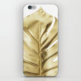 Gold monstera leaf iPhone Skin
