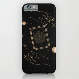Magic94 Magical Book Hands Outer Space Astrological Star Moon Boho Bohemian Symbol Gold Black Minimalist iPhone Case