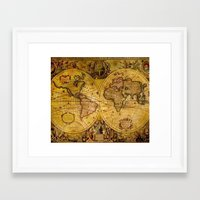 vintage map Framed Art Prints featuring VintaGe Map by ''CVogiatzi.