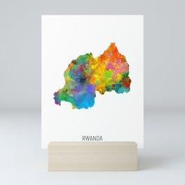 Rwanda Watercolor Map Mini Art Print