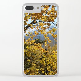 Golden Fall Leaves Clear iPhone Case