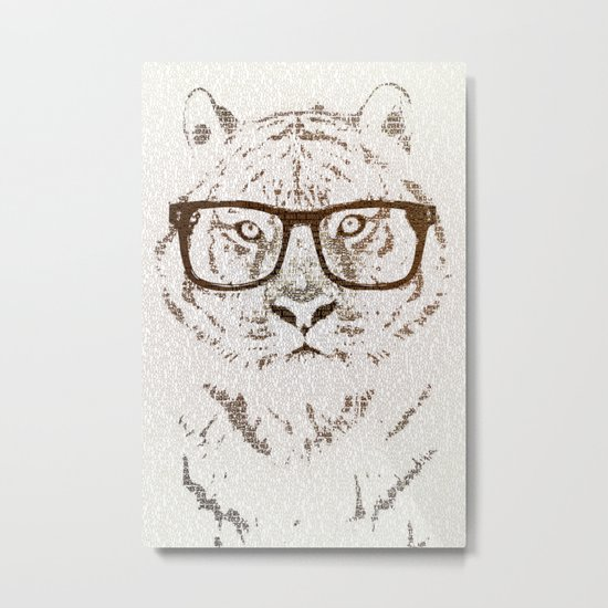 The Hipster Tiger Metal Print
