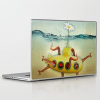 yellow submarine Laptop & iPad Skins featuring yellow submarine in an octapuses garden by Vin Zzep
