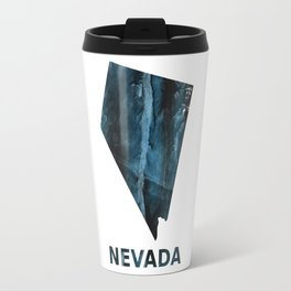 Nevada map outline Dark blue streaked watercolor Travel Mug