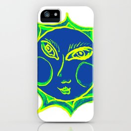 Smiling Green Sun with Blue Face iPhone Case
