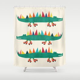 Crocodile on Roller Skates Shower Curtain
