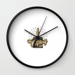 Vintage Vaping Logotypes With Letterings Skeleton Hand Holding Vape Monochrome Style Illustration Wall Clock