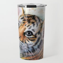 Tiger Cub Watercolor Travel Mug