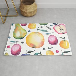 Lovely and Elegant Watercolor Fruits Background Rug