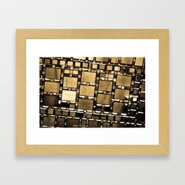 Sepia Abstract Geometric Shapes Decorative Mirror Print Framed Art Print