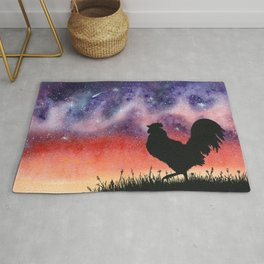 Sunset Rooster and Starry Sky Watercolor Rug