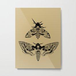 Antique Deaths Head Hawk Moth Pointillism Metal Print