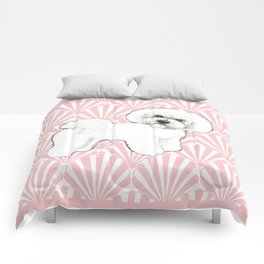Bichon Frise at the beach / seashell pink Comforters