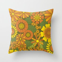 Orange, Brown, Yellow and Green Retro Daisy Pattern Throw Pillow