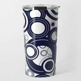 Contemporary Circles Modern Geometric Pattern in Navy Blue and White Travel Mug
