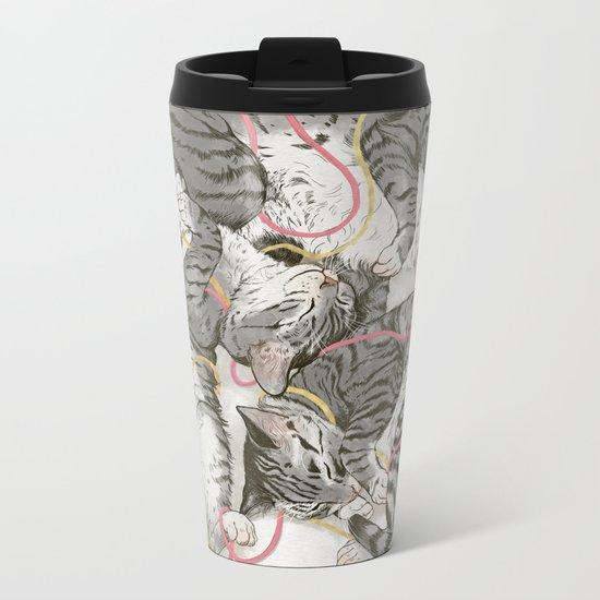 cats gold and rose Metal Travel Mug