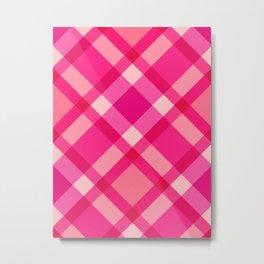 Mid-Century Modern Plaid, Fuchsia, Pink and Wine Metal Print