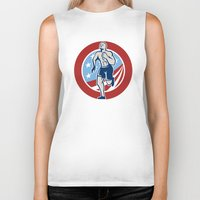 crossfit Biker Tanks featuring American Crossfit Runner Running Retro by patrimonio