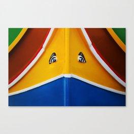 Maltese Boat - Luzzu Colours  Canvas Print