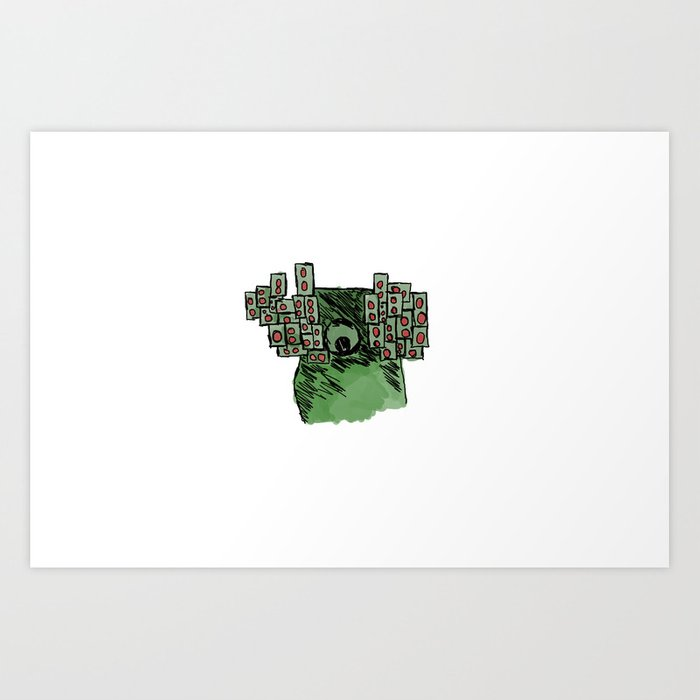 Spaceman with Speakers on white Art Print