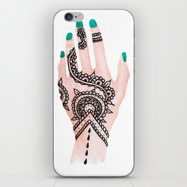 Modern watercolor hand  floral henna tattoo turquoise nails iPhone Skin