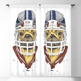 American Football Pug Blackout Curtain