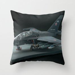 RUSSIA / YAK-130 - 2019. Miniature of military fighter on a black background  Throw Pillow