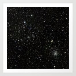 Universe Space Stars Planets Galaxy Black and White Art Print