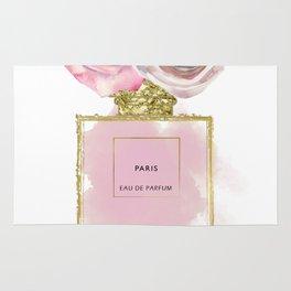 Pink & Gold Floral Fashion Perfume Bottle Rug