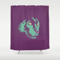 panther Shower Curtains featuring Panther Alt by CranioDsgn