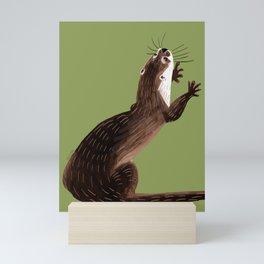 Asian small-clawed otter Green Mini Art Print
