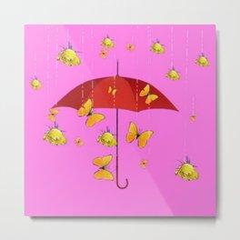 Raining Golden Yellow Butterflies & Roses Humorous Art Design Metal Print