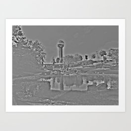 Sunsphere Shades of Gray Art Print