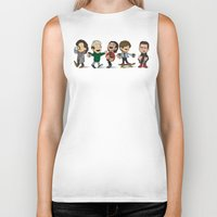 1d Biker Tanks featuring Schulz 1D Coffee Run by Ashley R. Guillory