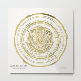 Quaking Aspen – Gold Tree Rings Metal Print